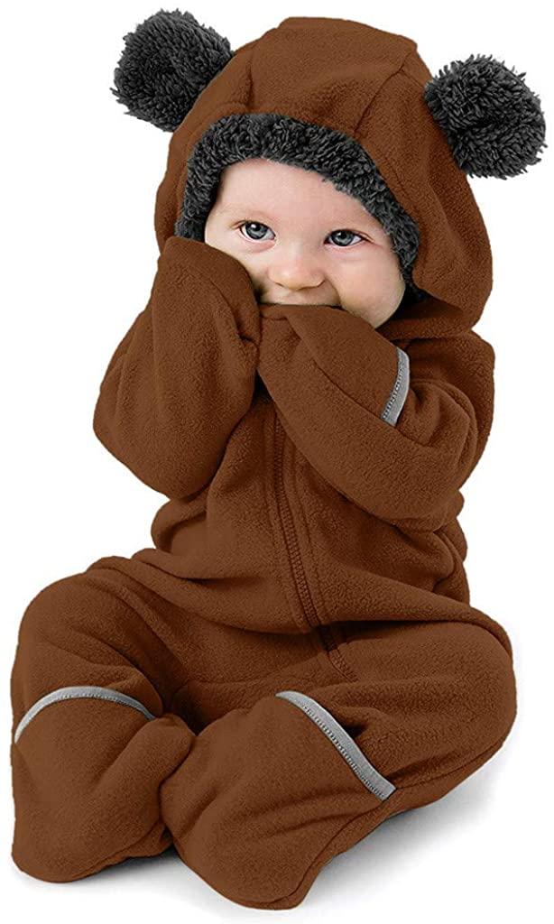 Xinantime Infant Baby Girls Boys Solid Cartoon Ears Hoodie Romper Clothes Fleece Jumpsuit