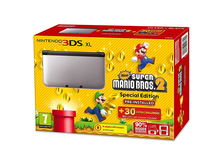 Nintendo 3DS console XL Silver New Super Mario Bros. 2