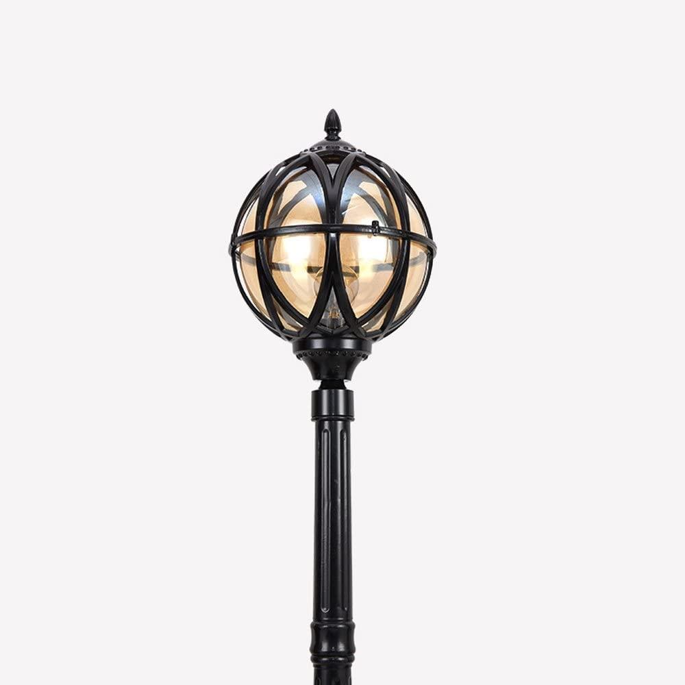 Vampsky European Victoria Retro Park Outdoor Waterproof Glass Column Lamp Lawn Villa Lights External Rainproof Antique Lantern Landscape High Pole Garden Patio Column Lamp Street Light