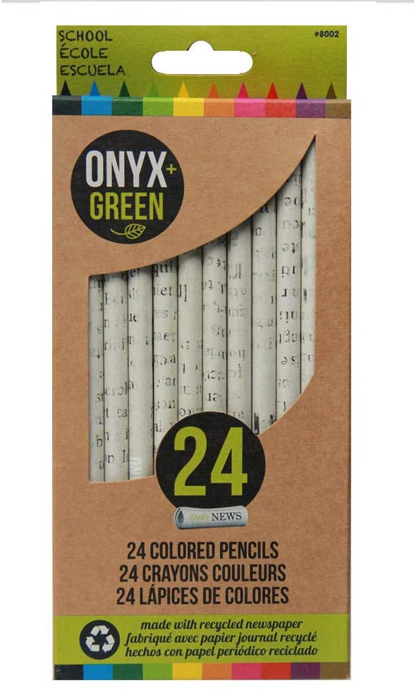Onyx and Green 24 Pack of Colored Pencils, Pre-Sharpened, Made from Recycled Newspaper (8002)