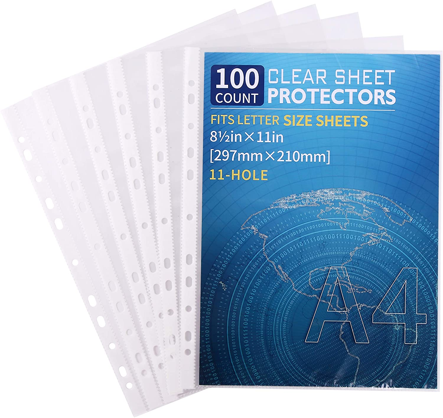 100 Pack Clear Sheet Protectors 8.5 x 11 inch for 2/3/4 Ring Binder, Reinforced 11-Hole, Top Loading Page Paper Protector for Documents Photos, Letter Size Plastic Sleeves for Binders