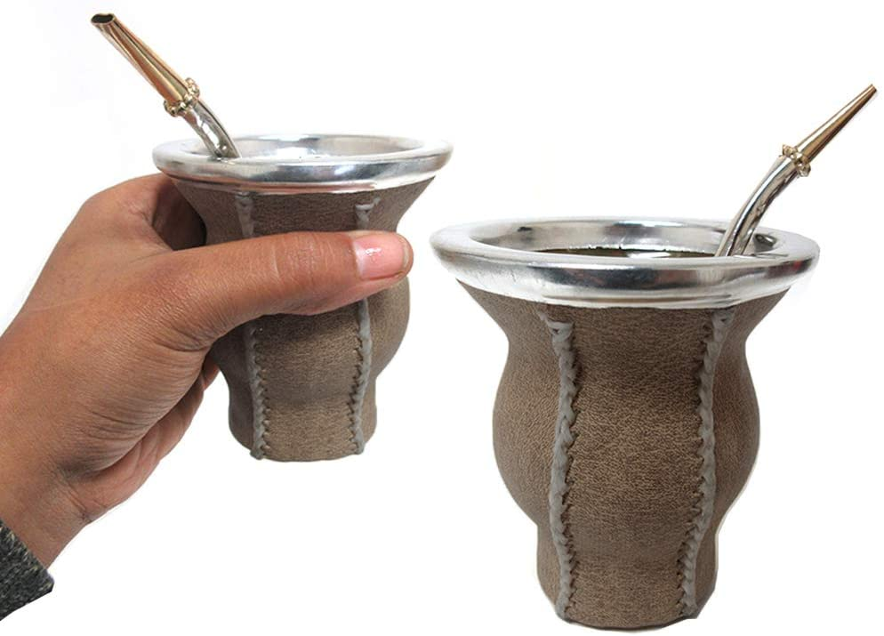 Argentina Mate Gourd Tea Glass Cup Thick Bombilla Straw Diet Drink Kit Set 9346