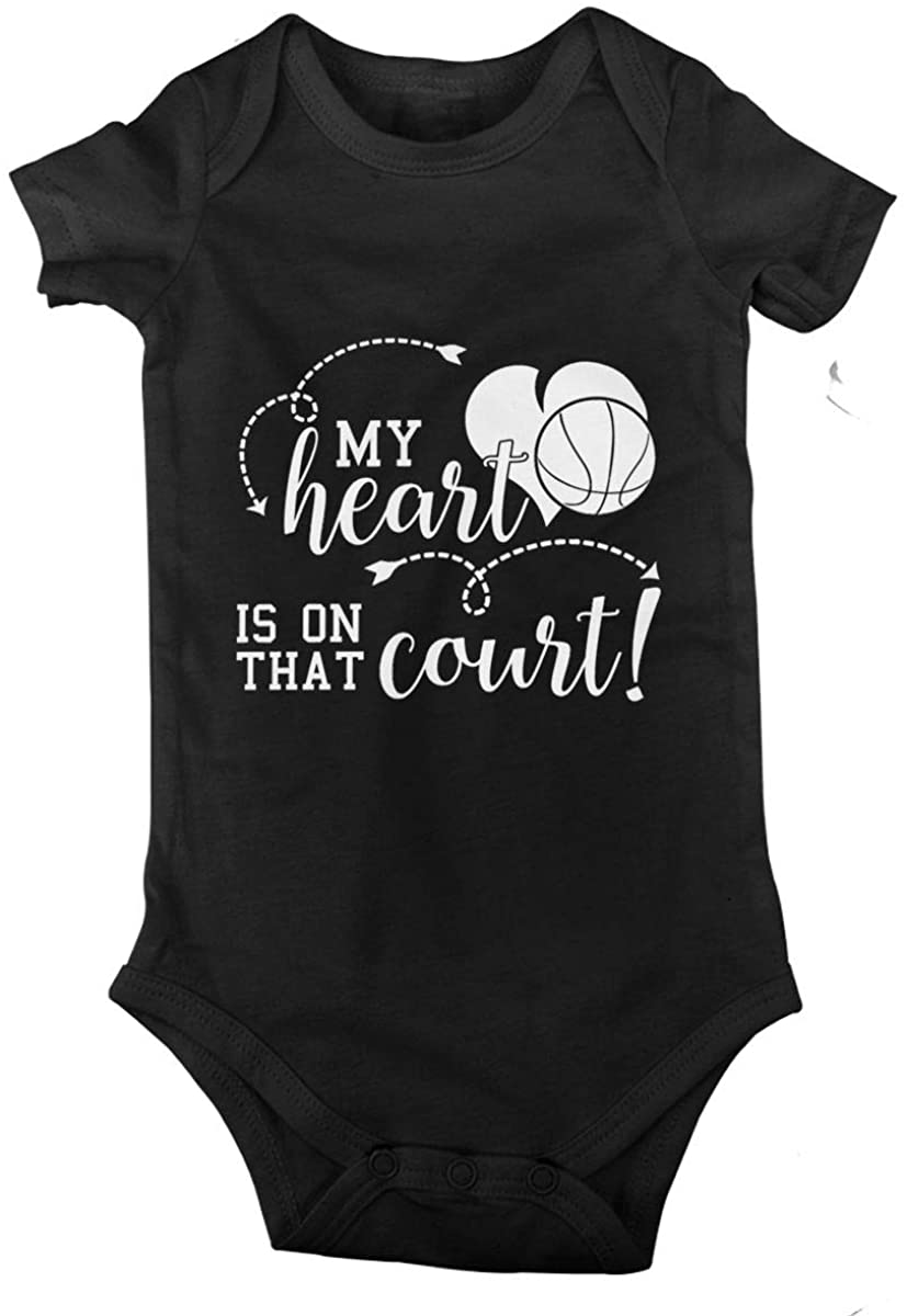 My Heart is On That Court. Cotton Baby Short Sleeve Bodysuits Jersey Rompers
