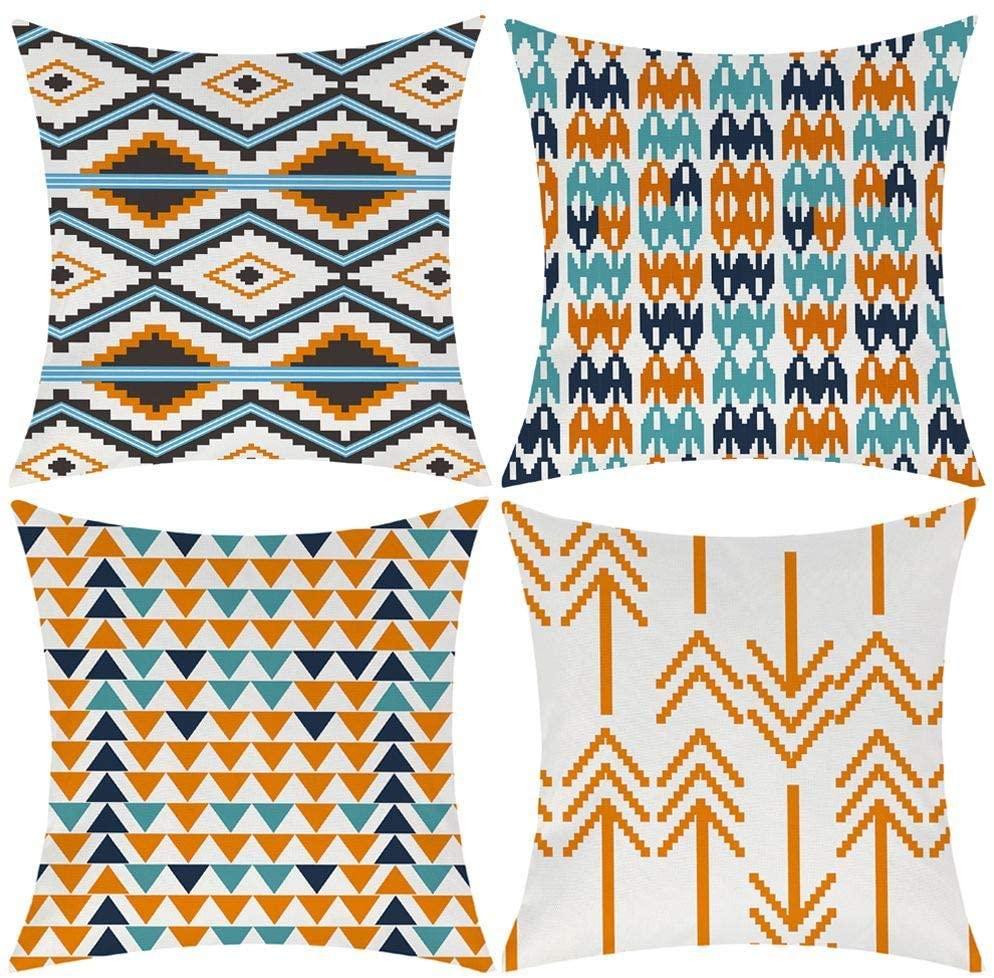 Modern Simple Geometric Style Cotton Linen Burlap Vibrant Orange Throw Pillow Covers, 18 x 18 Inches, Set of 4 (Orange)