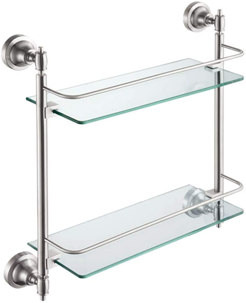 Mr. Bathroom Bathroom Shelf Wall-Mounted Tempered Glass Stainless Steel Punch Silver (Color : 350x130x445mm)
