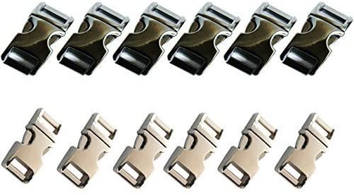 "MARKETTY Silver and Gun Metal Black Color-12 PCS 5/8""(15mm) Flat Metal Side Release Buckles by Markett"