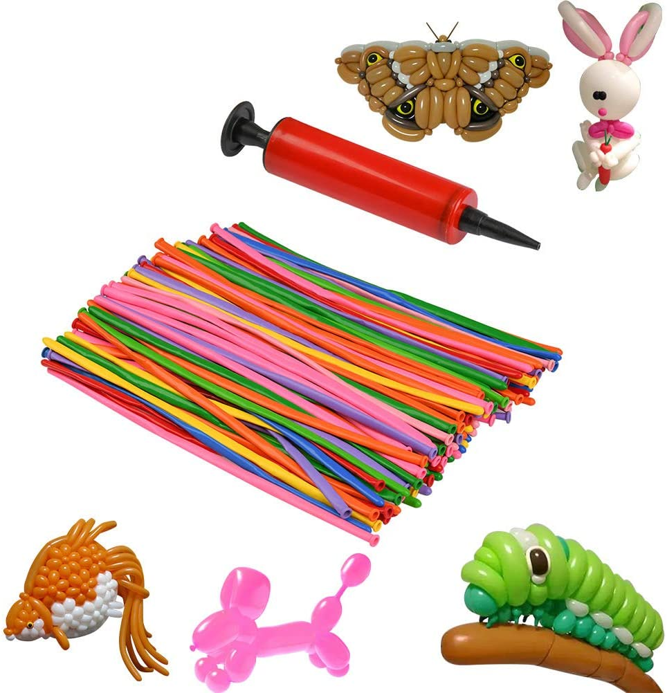 YANSHON 200Pcs Twisting Balloons, Rainbow Colored Vibrant Latex Balloons with Balloon Pump, Thickening Latex Twisting Modeling Strip Shape Balloon Magic Balloon Animals