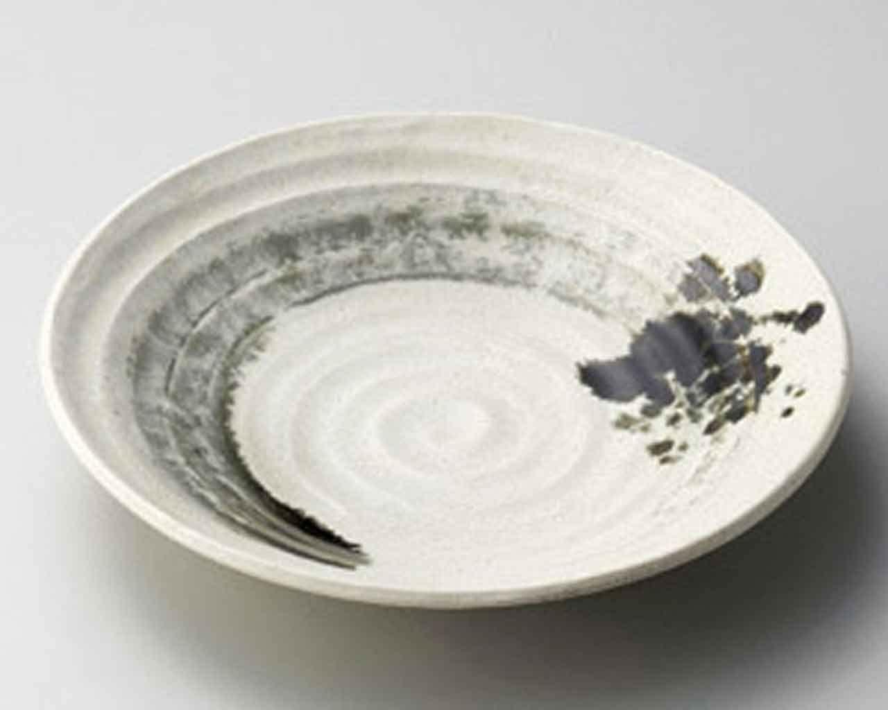 Arabiki 11.4inch Set of 2 SUSHI PLATES Beige porcelain Made in Japan