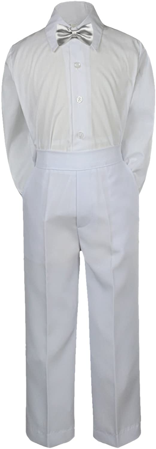 Leadertux 3pc Formal Baby Toddler Boys Satin Silver Bow Tie White Pants Suit S-7