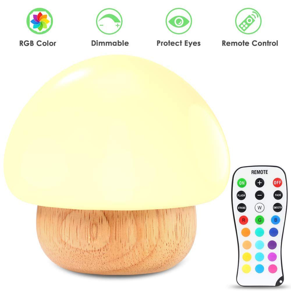 Night Light for Kids,AMADE Mushroom Silicone Baby Night Lamp BPA-Free,16 Color,Rubber Wood,4 Light Modes,3 Brightness with Wireless Remote (Great for Christmas,Birthday Gift)