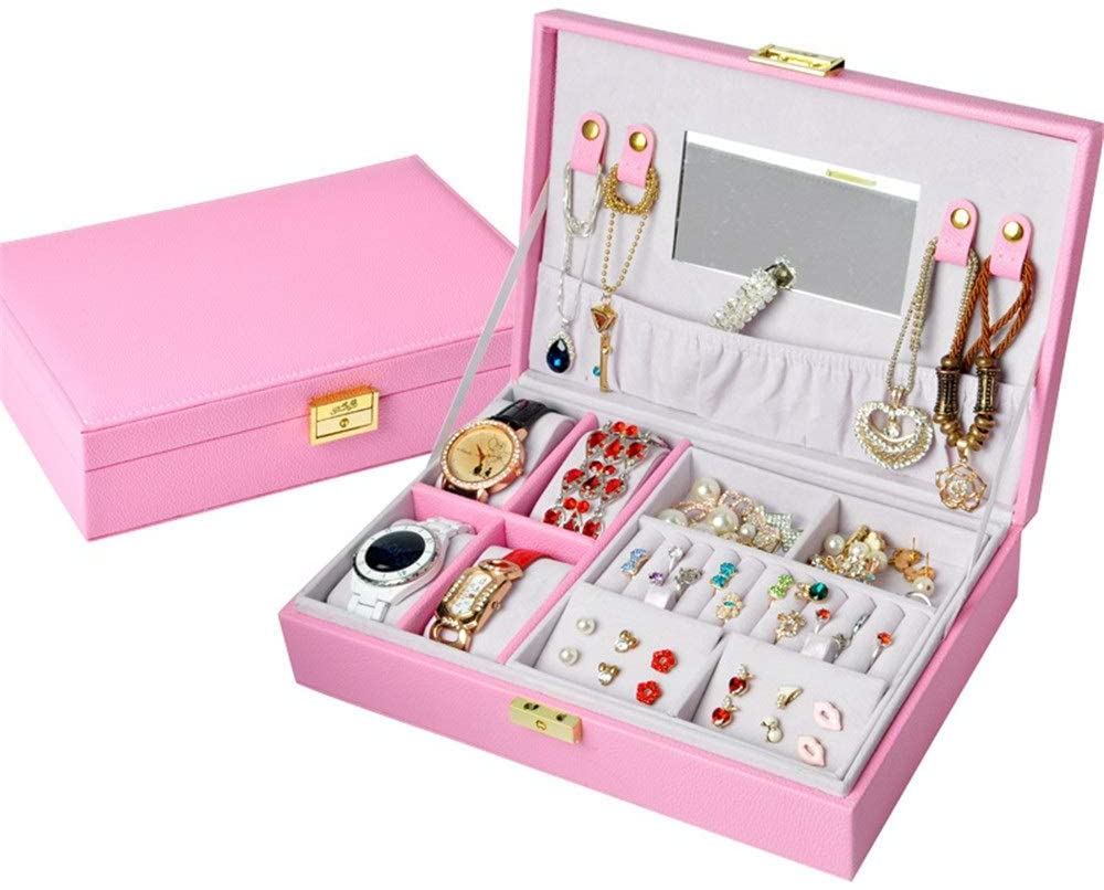 PUEEPDEE Jewelry Box Jewelry Box Organizer Showcase Lock Locker Fashion Exquisite Leather Jewelry Box Handmade Travel Jewelry Box Storage Box Rack Jewelry Box for Girls (Color : Pink, Size : 28197cm)