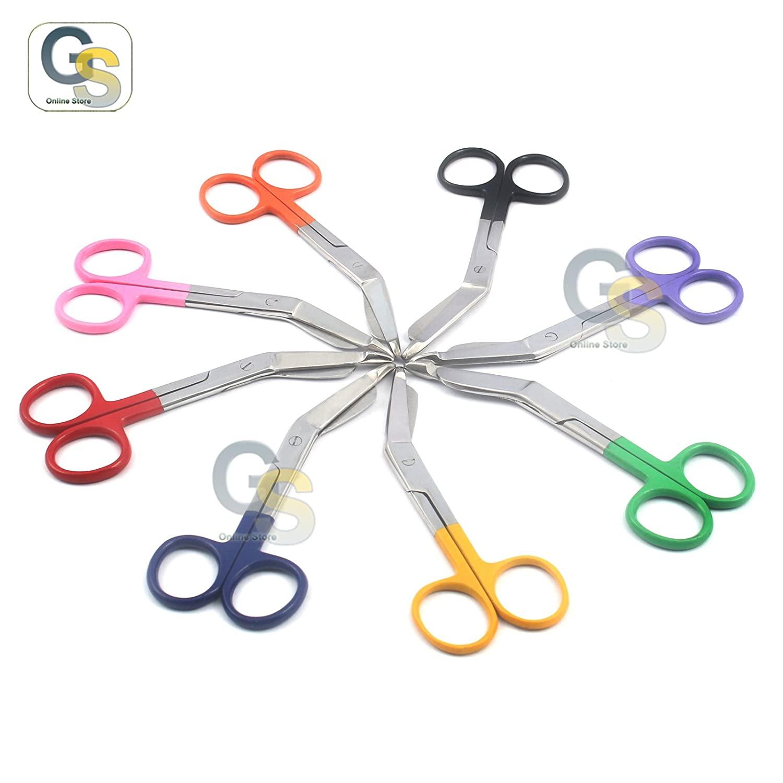 G.S Set of 8 PCS Lister Bandage Nurse Scissors - 4 1/2 Mix Color Handle Best Quality