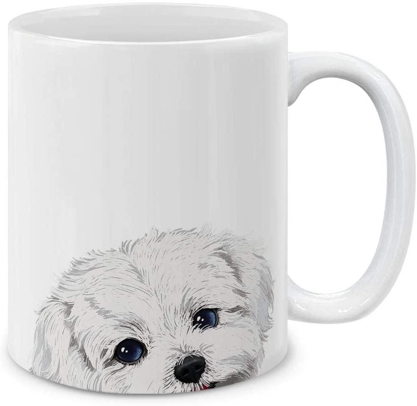MUGBREW Maltese Dog Ceramic Coffee Mug Tea Cup, 11 OZ