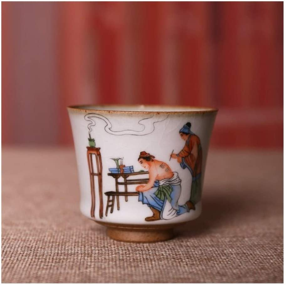 MADONG Ceramic hand-painted pastel Yue Fei Ru opening piece tea cup cup single cup (Color : B, Size : 51-100ML)