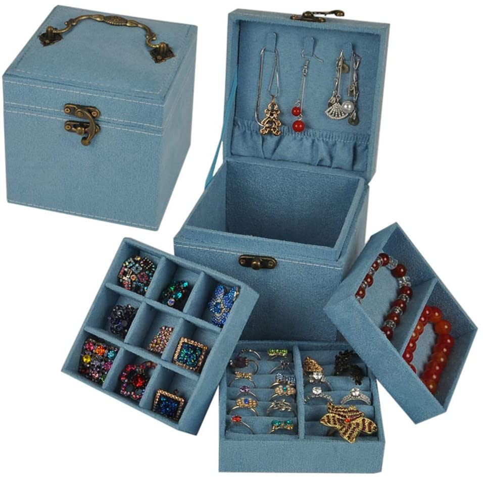 GWW 3 Layer Small Velvet Jewelry Box,Retro Mini Jewelry Organizer,Portable Travel Jewelry Holder,Ring Earring Necklace Organizer Box with Mirror Blue 121212cm