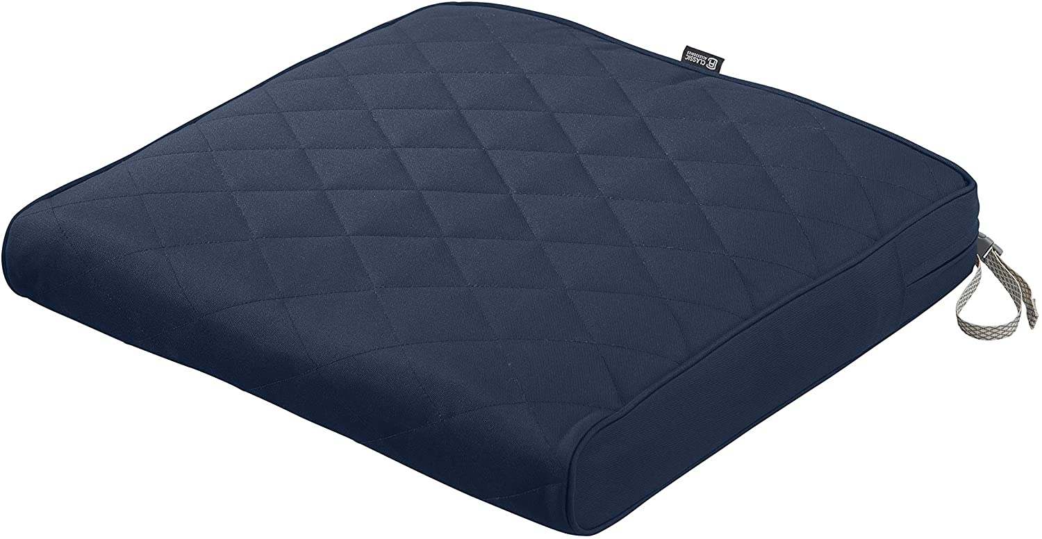 Classic Accessories Montlake Water-Resistant 21 x 19 x 3 Inch Patio Quilted Seat Cushion, Navy