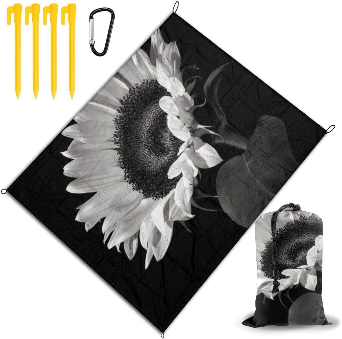 JEKYDOSD Sunflower Black Grey Printed Picnic Mat,Travel Outdoor Beach Blanket Durable Waterproof Sand Beach Mat Blanket for Travel Camping Hiking 67