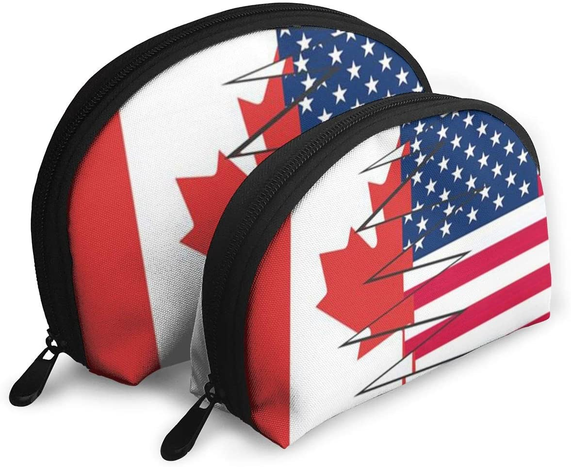 2Pcs Shell Makeup Bags Canadian American Flag Travel Portable Toiletry Bags Small Makeup Clutch Pouch