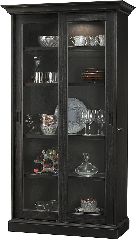 Howard Miller Meisha IV - Aged Black Solid Wood Display Cabinet Made in USA
