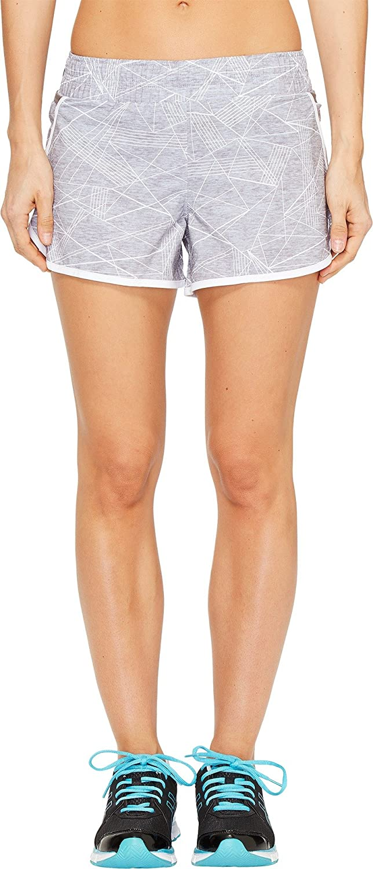 ASICS Women's Distance Shorts, Grey Skyline Print, X-Large