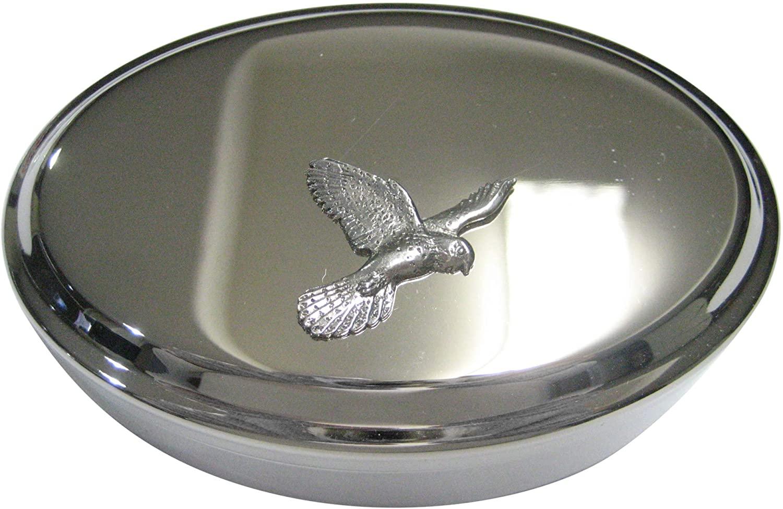 Kiola Designs Silver Toned Flying Kestrel Bird Oval Trinket Jewelry Box