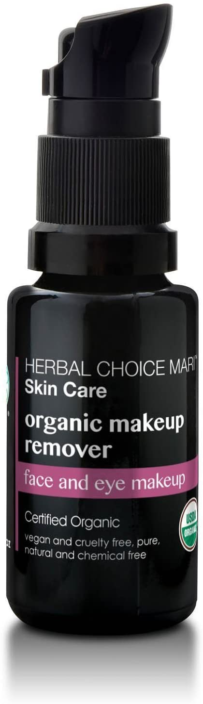 Organic Makeup Remover by Herbal Choice Mari; 0.5 Fl Oz Glass Bottle; TSA Approved Travel Size