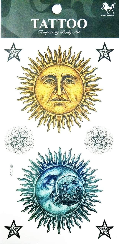 NipitShop 1 Sheet Yellow Blue Moon Sun Stars Over Fantasy Temporary Tattoos Arm Sticker Art Arm Sticker Body Waterproof Tattoo for Women&Girls&Men