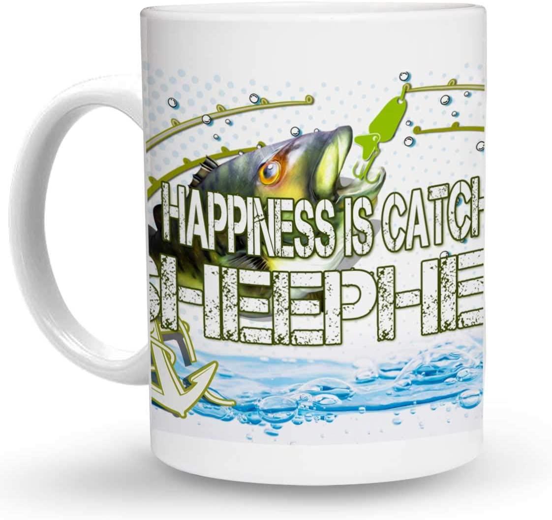 Makoroni - HAPPINESS IS CATCHING SHEEPHEAD Fishing 6 oz Ceramic Espresso Shot Mug/Cup Design#9