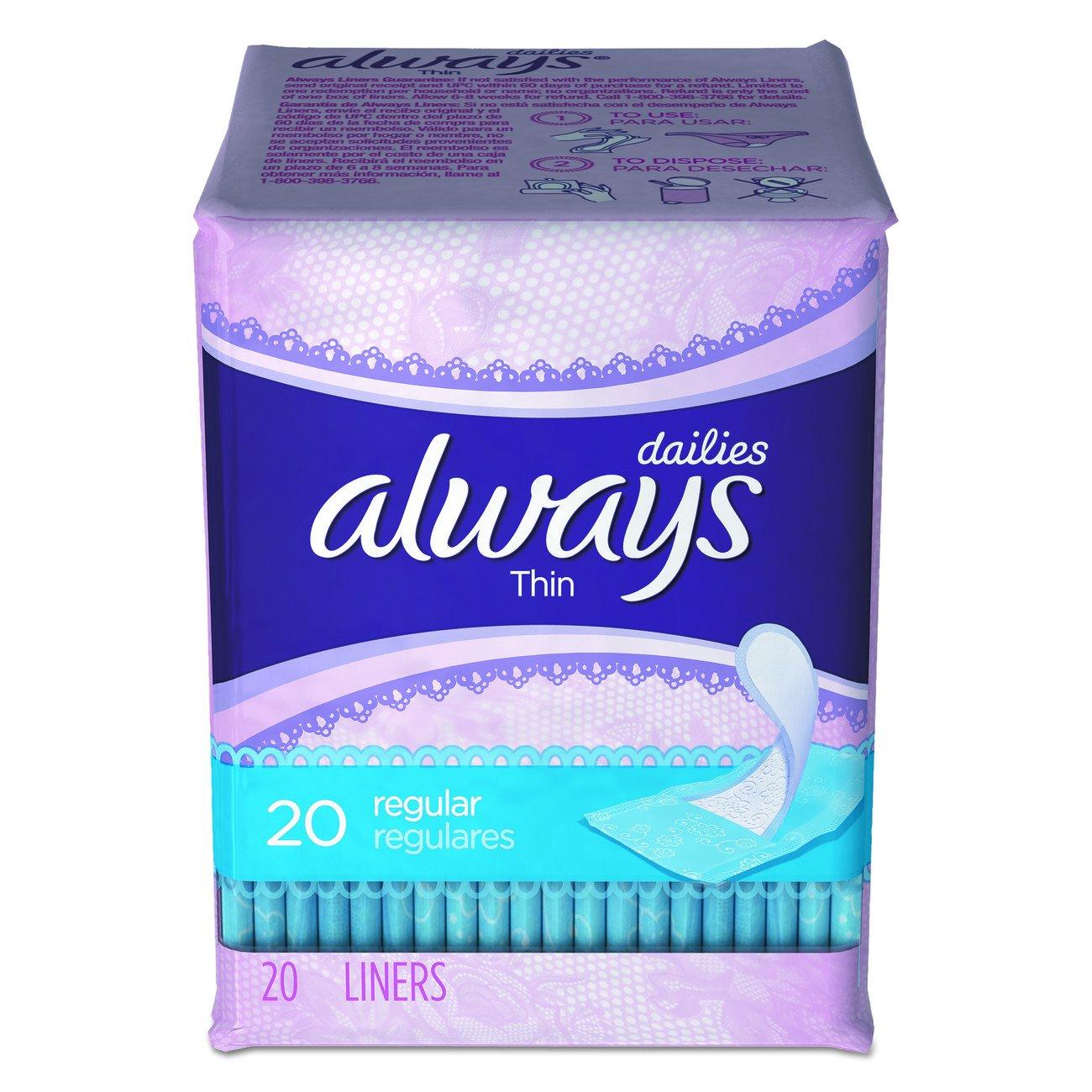 Always PGC 08279 Dailies Thin Liner, Regular (Pack of 480)