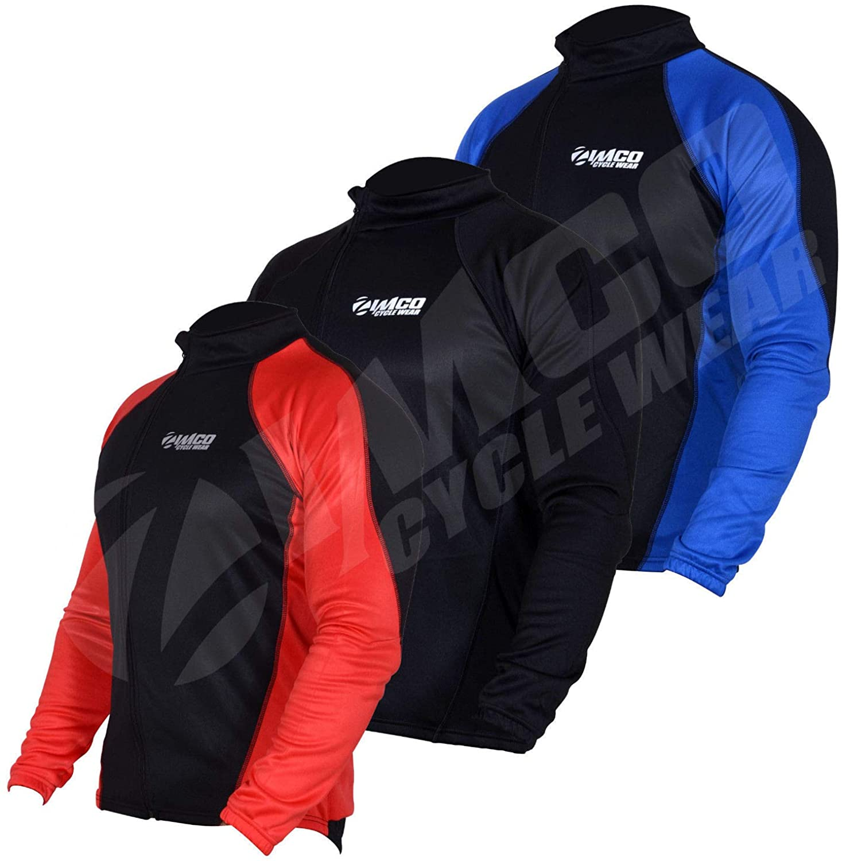 Zimco Winter Cycling Thermal Jacket Fleece Long Sleeve Mountain Bike Jersey 1157 (3XL, Black/Red)