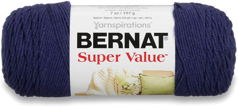 Bernat Super Value Yarn, 7 oz, Gauge 4 Medium Worsted, Denim Heather