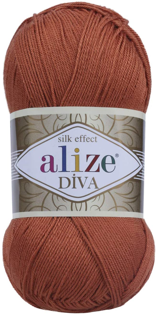 Hand Knitting Yarn 100% Microfiber Acrylic Yarn Alize Diva Silk Effect Thread Crochet Art Lace Craft Lot of 4 skeins 400gr 1532yds Color 36 Terra