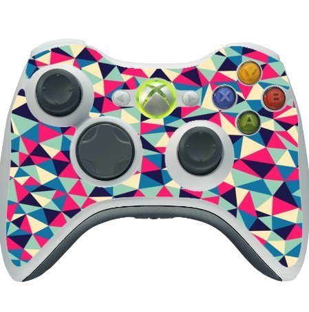 Geometric Colorful Triangles Blue Pink Aqua Orange Xbox 360 Wireless Controller Vinyl Decal Sticker Skin by Debbie's Designs by Debbie's Designs