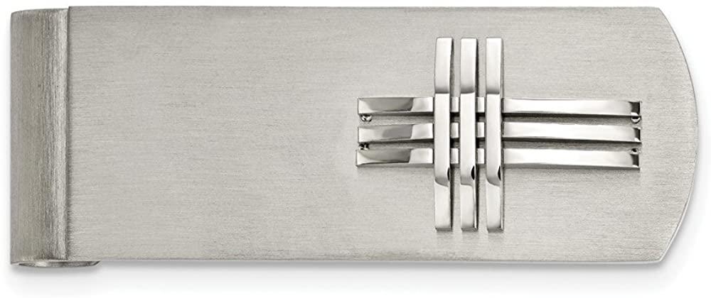 Solid Stainless Steel Men's Brushed/Cross Slim Business Credit Card Holder Money Clip - 52mm x 19mm