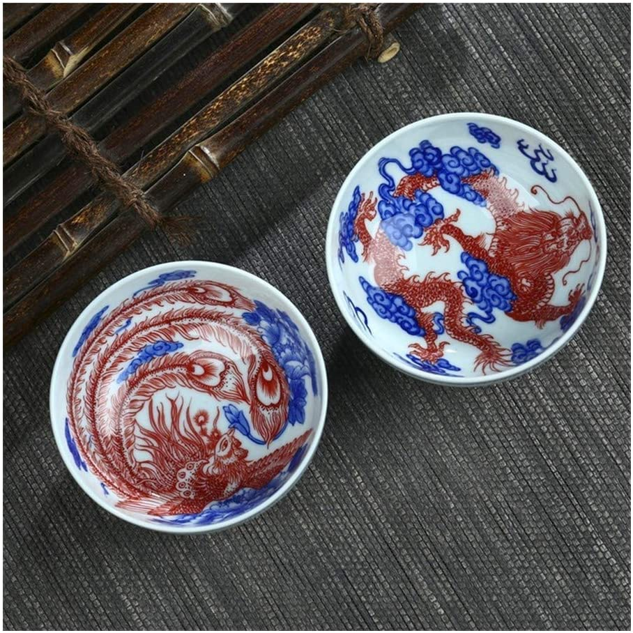 SHENLIJUAN Fine hand-painted blue and white ceramic cup ceramic cup fine cup red dragon (Color : Phoenix, Size : 101-200ml)