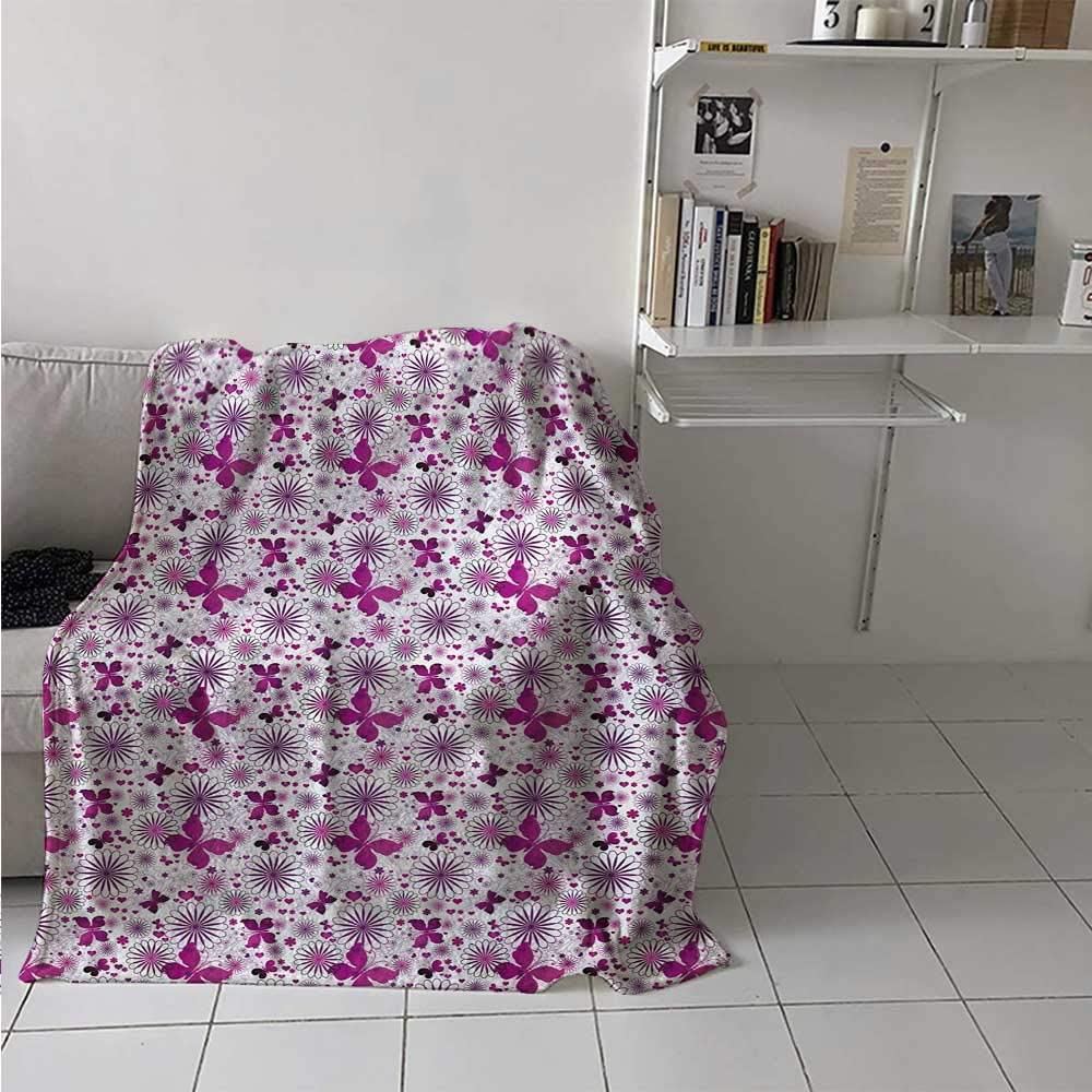 Lightweight Blanket Amorous Butterflies Hearts and Flower Blooms Celebration of Valentines Day Soft Breathable Blanket for Kid Baby Toddler Teenager Fushcia Violet White 50 x 60 Inch