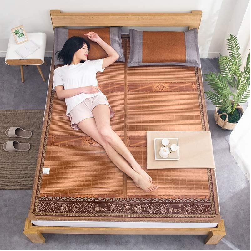 HEAlesd Mattress Cooling Bedding Natural Bamboo Mat Summer Sleeping Mat Foldable Silk Foldable Mat,1.82.0m