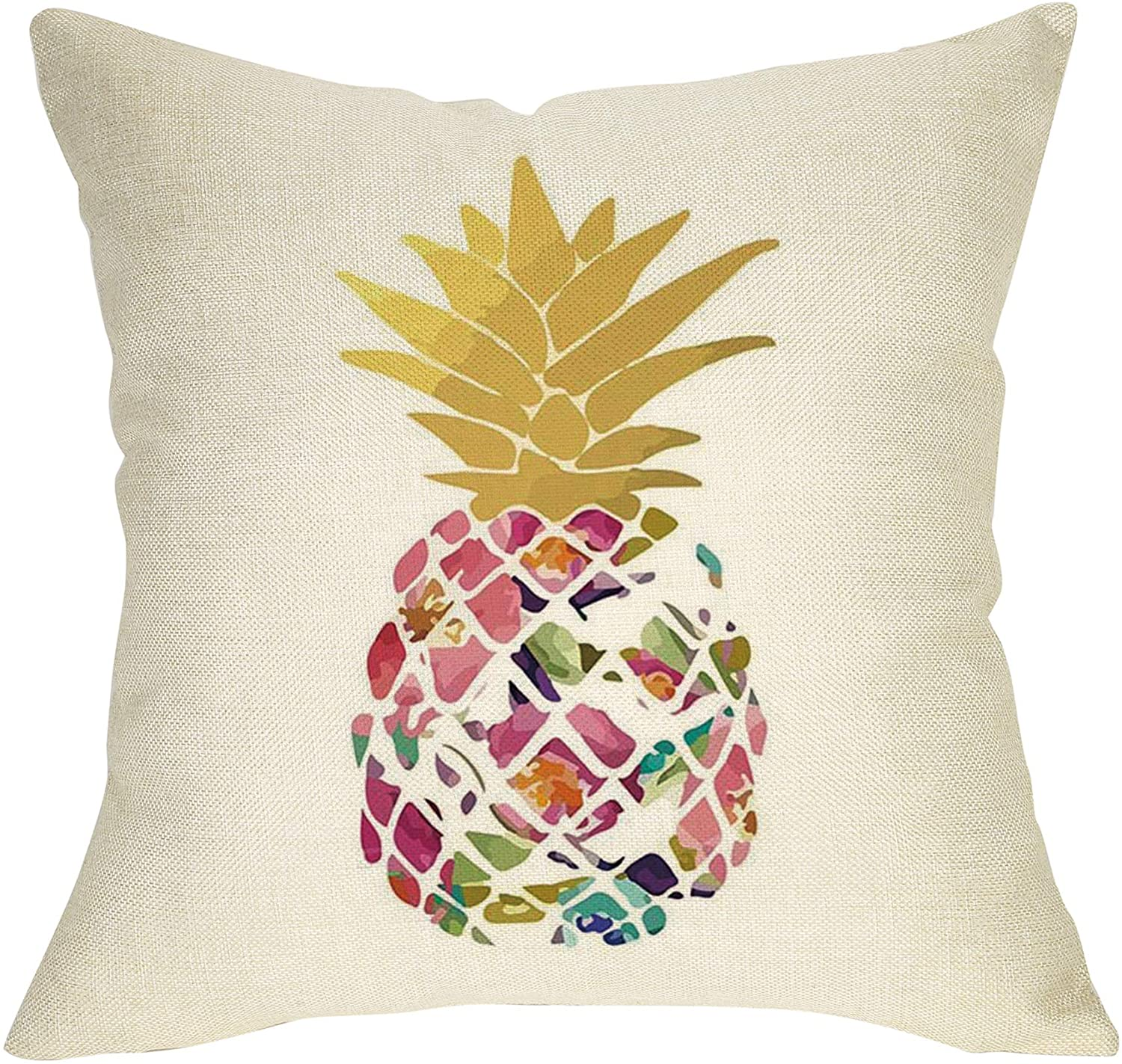 Softxpp Watercolor Floral Pineapple Decoration Spring Summer Farmhouse Throw Pillow Cover Rose Sign Home Decor Cushion Case Decorative for Sofa Couch 18