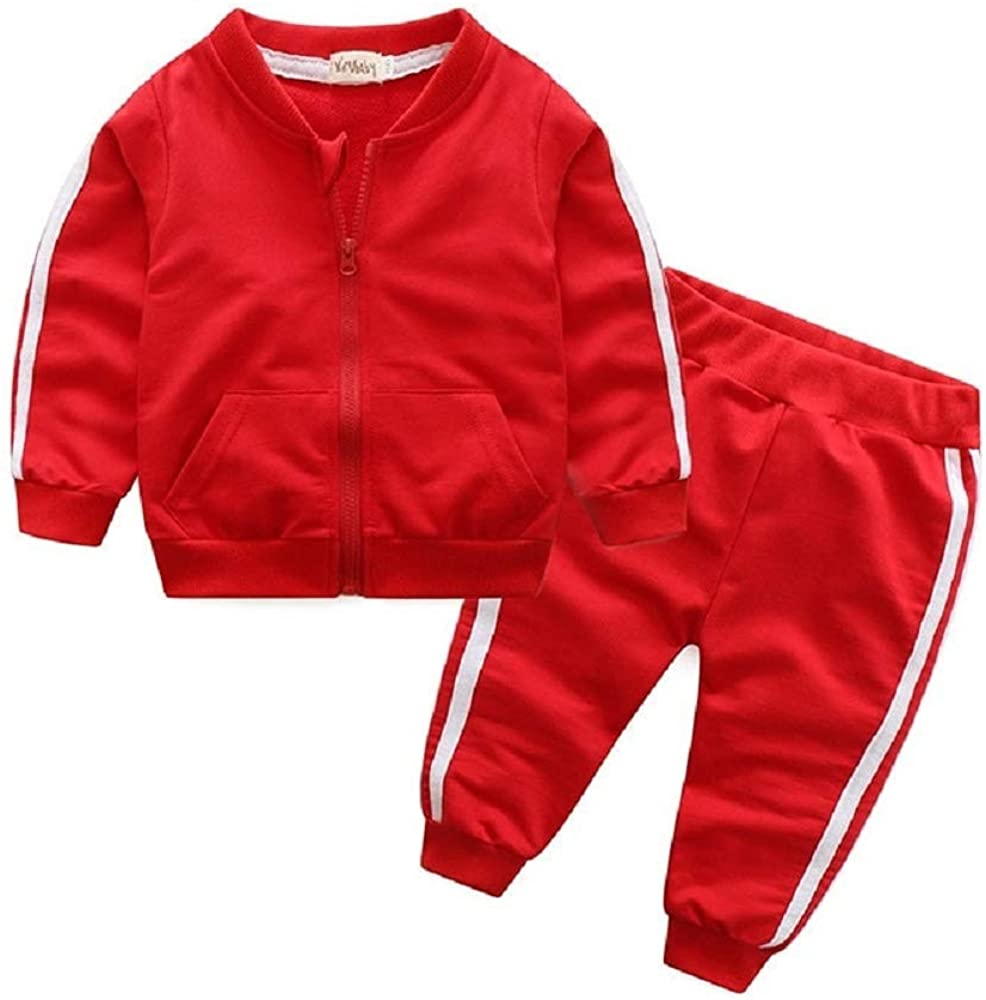Baby Girl Clothes Cotton Long Sleeve Jacket+Pants Tracksuit Baby Boy Clothing Set (Red, 12M)