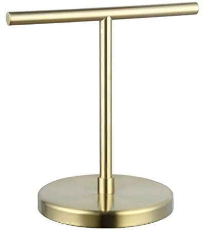 GERZ Modern Hand Towel Holder Tree Rack Free Standing SUS 304 Stainless Steel Countertop Towel Ring, Brushed Pvd Zirconium Gold Finish