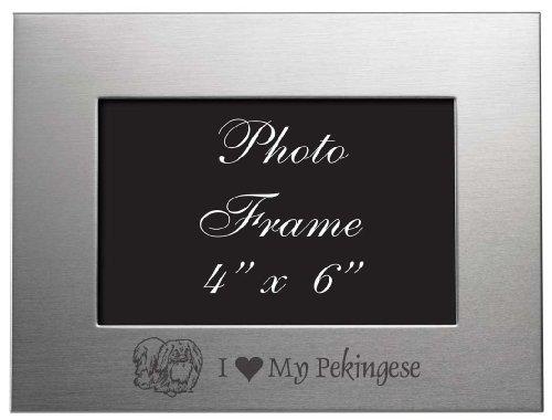 4x6 Brushed Metal Picture Frame - I Love My Pekingese