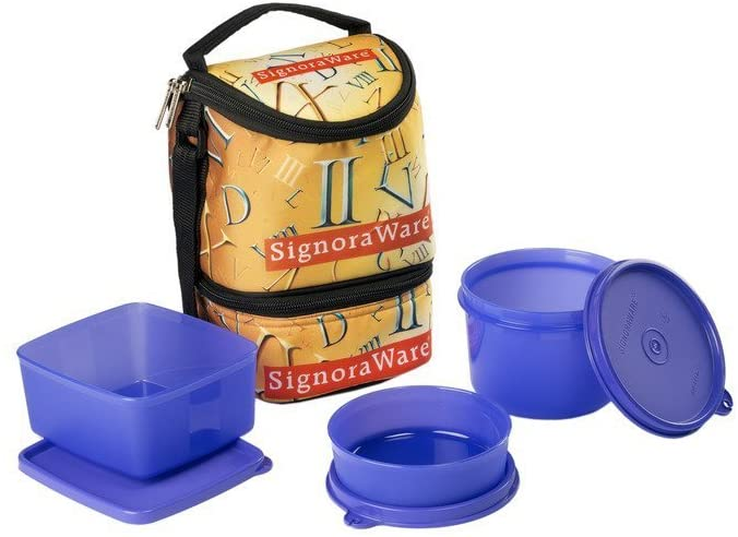 Signoraware Roman Trio Lunch Box with Bag Set, 3-Pieces, Deep Violet