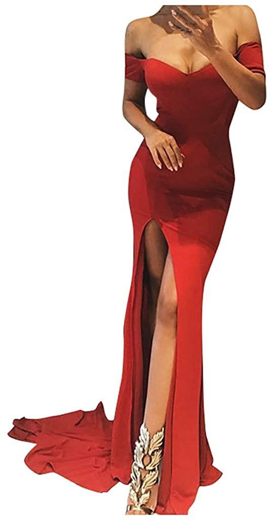 Kangma Women's Elegant Off Shoulder High Split Floor Length Wedding Long Prom Evening Dress