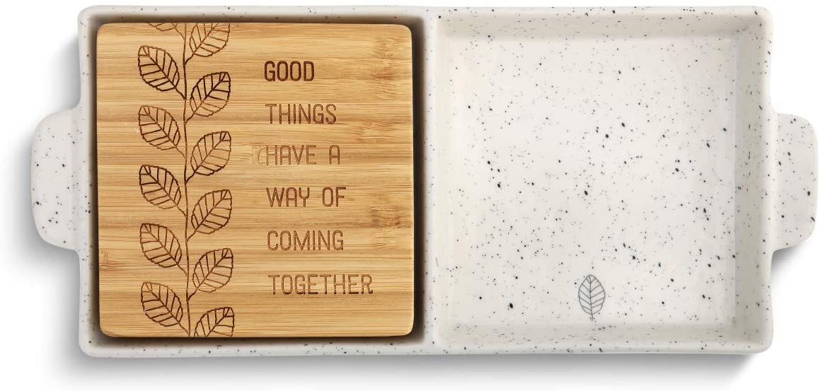 Good Things Glossy White 10 x 5 Ceramic Stoneware 2 in 1 Serving Dish Plate