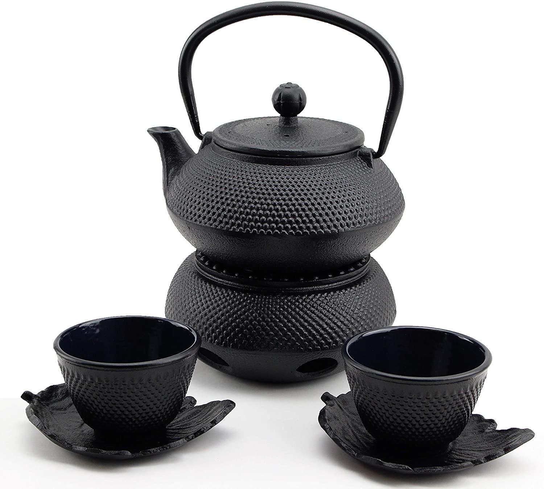 急須きゅうす Hobnail Iron Teapot Set - Japanese Antique 24 Fl Oz Small Dot Cast Iron Teapot Tetsubin with Infuser, 2 Cups with Saucers and Teapot Warmer, Birthday gift idea for gift price $120