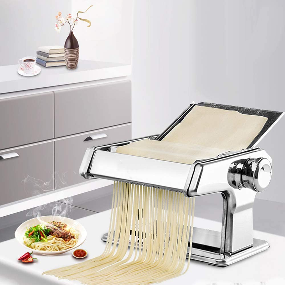 Wghz Stainless Steel Ordinary 2 Blades Pasta Making Machine Manual Noodle Maker Hand Operated Spaghetti Pasta Cutter Noodle Hanger
