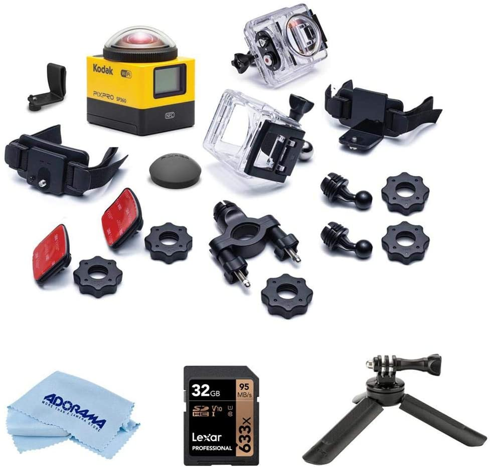 KODAK PIXPRO SP360 360 Degree VR Action Camera with Explorer Pack and Waterproof Housing Case - Bundle with Ulanzi MT-05 Mini Tripod for Mobile Gimbal, 32GB SDHC Card, Microfiber Cloth