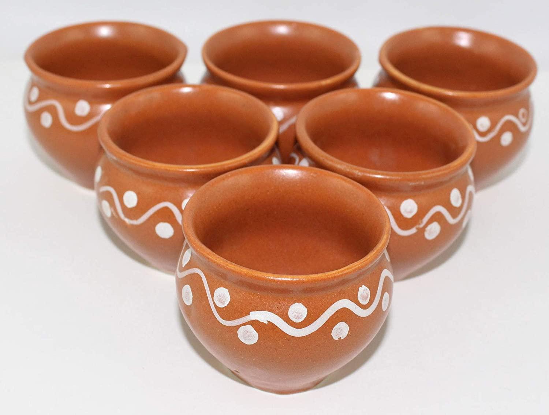 Odishabazaar Ceramic Mini Kulhar Cups Matki Shape - Using for Chatni/Dahi Set of 6 (60ml)