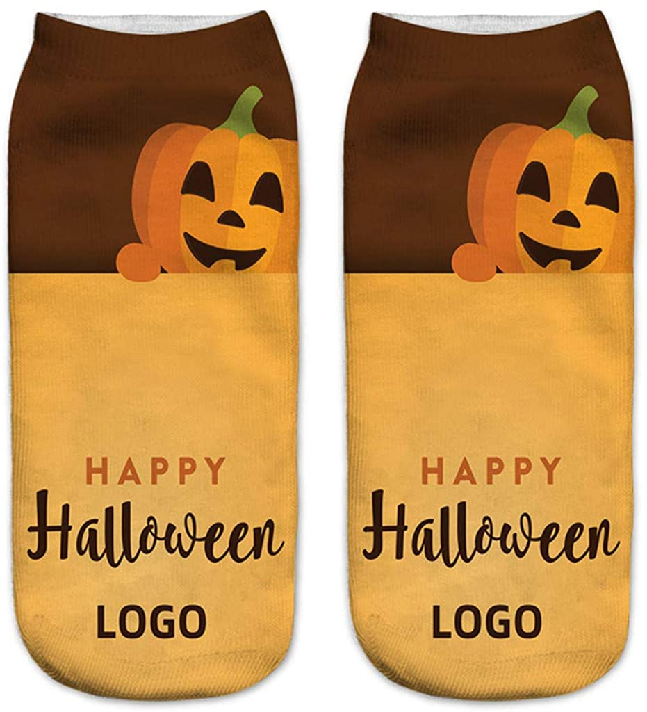 Dermanony Unisex Short Socks Happy Halloween Funny 3D Printed Casual Socks Fashion Cute Low Cut Cotton Ankle Socks