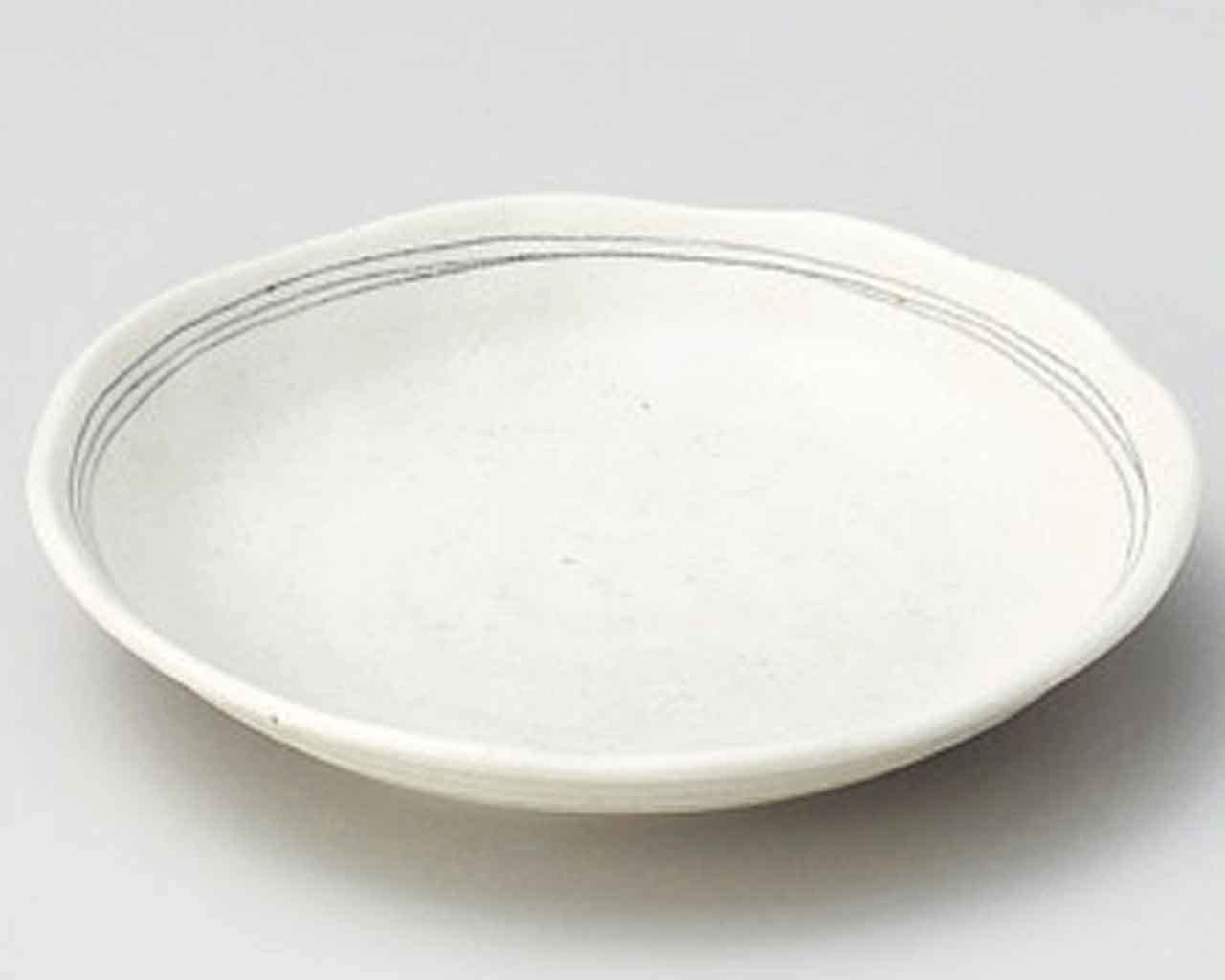 Brown Line 4.7inch Set of 2 Small Plates White porcelain Made in Japan